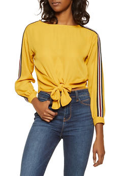Tie Front Striped Sleeve Top - 3401054212463