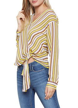 Striped Tie Front Blouse - 3401054212464
