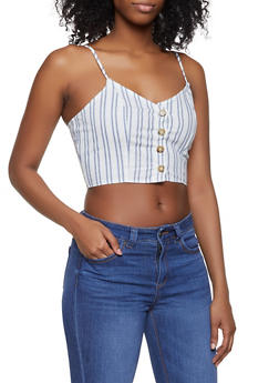 Striped Button Front Cropped Cami - 3401054212615