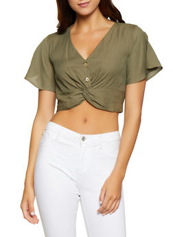 Linen Twist Button Front Crop Top - 3401054212642