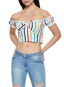 Striped Smocked Back Crop Top | 3401054212710 - 3401054212710