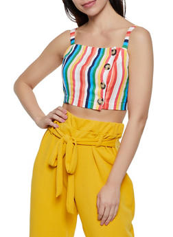Striped Button Front Cami Crop Top - 3401054212733