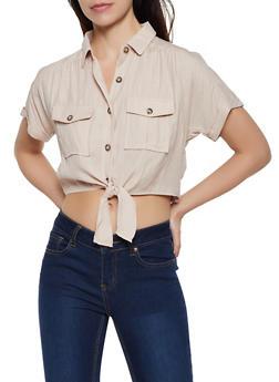 Button Tie Front Linen Shirt - 3401054212744
