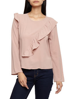 Crepe Knit Long Sleeve Top with Ruffle Details - 3401054213234