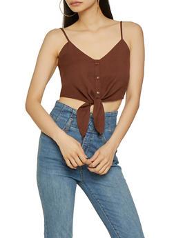 Linen Tie Front Cami - 3401054213264