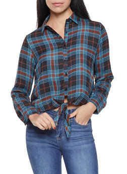 Plaid Tie Front High Low Shirt - 3401054213442