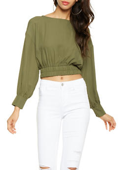Lace Up Back Crop Top - 3401054214290