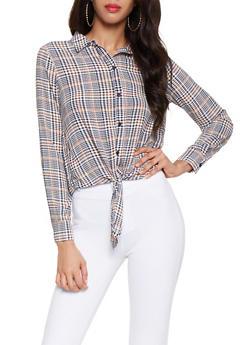 Plaid Tie Front Shirt - 3401054214424