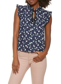 Floral Cap Sleeve Blouse - 3401054214611