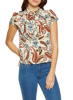 Paisley Print Tie Neck Blouse - 3401054215126