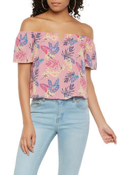 Printed Off the Shoulder Top - 3401054215687
