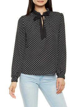 Long Sleeve Polka Dot Blouse - 3401054217031