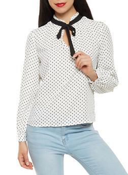 Long Sleeve Polka Dot Blouse - 3401054217031