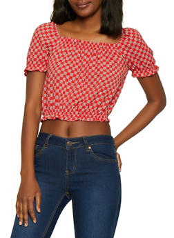 Square Neck Printed Crop Top - 3401054219553