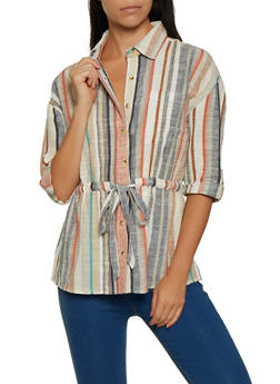 Vertical Striped Drawstring Linen Shirt - 3401056120807