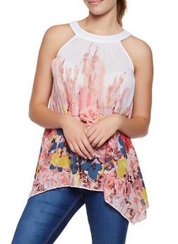 Floral Tie Back Asymmetrical Top - 3401056123419