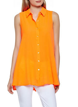 Sleeveless Crepe Knit Button Front Shirt - 3401056124239