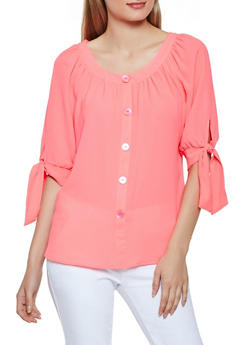 Crepe Knit Button Tie Sleeve Top - 3401056124243