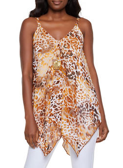 Animal Print Top with Necklace - 3401056124283