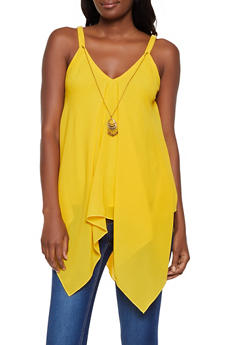 Solid Asymmetrical Top with Necklace - 3401056124288