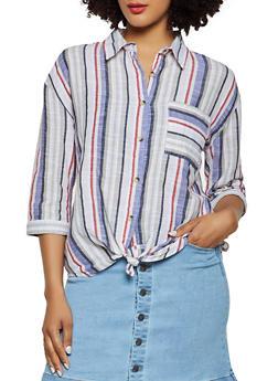 Striped Linen Twist Front Shirt - 3401056124361