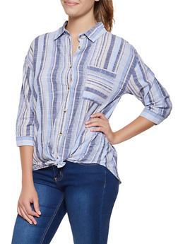 Linen Striped Twist Front Shirt - 3401056124364
