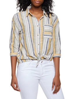 Striped Three Quarter Sleeve Shirt - 3401056124365