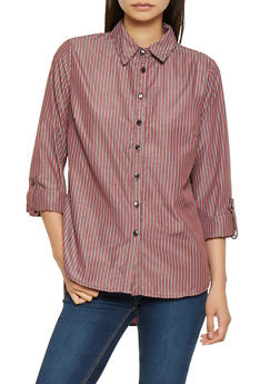 Striped Tabbed Sleeve Shirt - 3401056126116