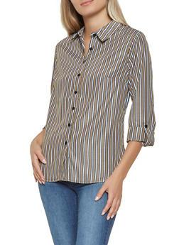 Side Tape Detail Striped Shirt - 3401056126117