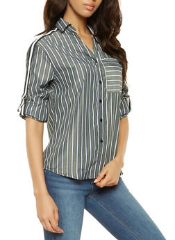 Striped Side Tape Detail Shirt - 3401056126119