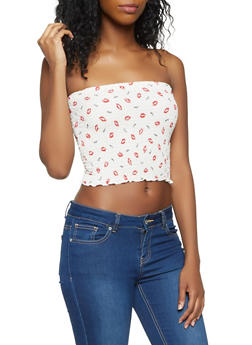 Printed Smocked Tube Top - 3401061350268