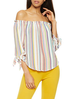 Striped Off the Shoulder Top - 3401061357250