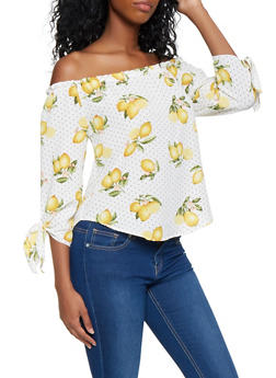 Lemon Print Off the Shoulder Top - 3401061357254