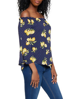 Lemon Print Off the Shoulder Top - 3401061357254