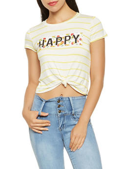 Happy Graphic Tie Front Tee - 3401061359879