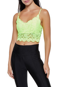 Scalloped Floral Lace Crop Top - 3401066495887