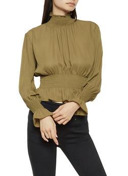 Smocked Long Sleeve Blouse - 3401068191751