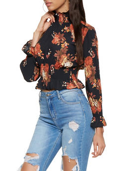 Smocked Floral Blouse - 3401068191804