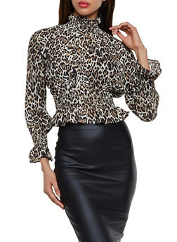 Leopard Print Smocked Top - 3401068193521