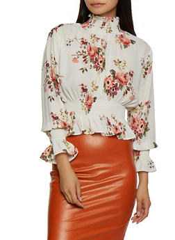 Floral Ruffle Smocked Detail Top - 3401068193522