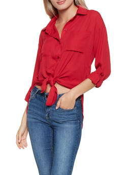 Button Front High Low Shirt - 3401068197042