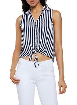 Sleeveless Striped Button Front Shirt - 3401069390001