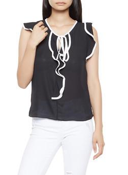Ruffle Tie Neck Blouse - 3401069390035