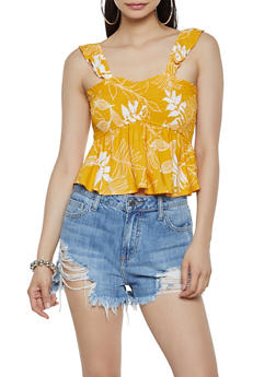Leaf Print Smocked Crop Top - 3401069390094