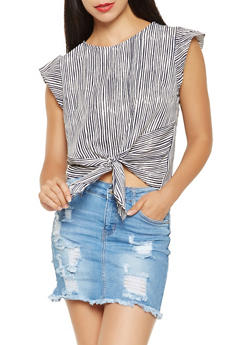 Striped Crepe Knit Tie Front Top - 3401069390108