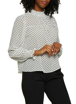 Smocked Detail Polka Dot Blouse - 3401069390554