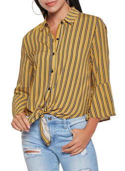Striped Tie Front Shirt - 3401069390782