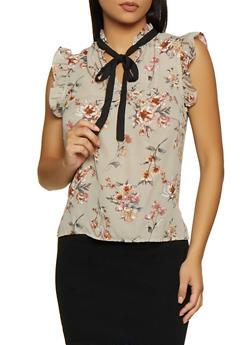 Ruffle Trim Tie Neck Floral Blouse - 3401069390853