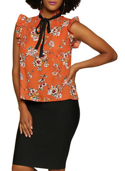 Ruffle Trim Tie Neck Floral Blouse - 3401069390853