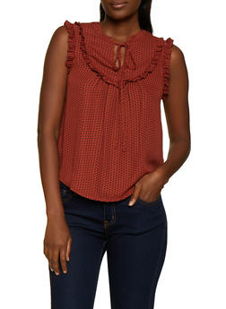 Printed Sleeveless Tie Neck Blouse - 3401069390933